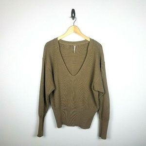 Free People Ribbed V-Neck Sweater SZ S Beige Khaki